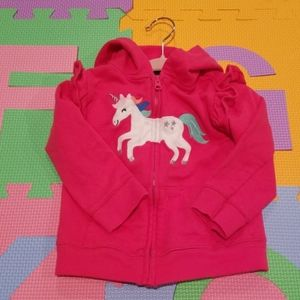 Magenta Unicorn Zip up Hoodie Sweatshirt 18 mo